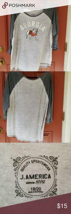 Georgia Bulldogs shirt 3/4 sleeve Georgia Bulldogs shirt J.America Tops Tees - Short Sleeve