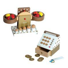 Set pour marchande en bois JANOD : Epicerie chic - jouet en bois