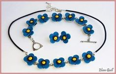 Blue poppies - quilling necklace, earrings and bracelet set by Elven Quill www.facebook.com/elven.quill