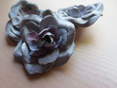 3 Velvet Roses SMALL size in Silver Gray and Pink for Bridal, Headbands, Crafting