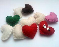 mini felt heart pin felt heart brooch handmande by grabacoffee