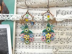 pastel flower earrings assemblage charm bird by lilyofthevally