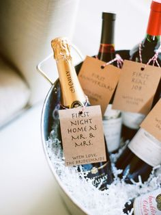 "Marriage Milestones....""Make sure you're ready to celebrate all your marriage milestones with this sweet idea where you've a bottle of vino to toast all the big events in your first year of married life including your first Christmas and first wedding anniversary!"" - Weddings Online"