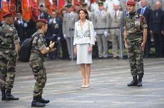 Princess Caroline became patron of the French 17th Parachute Engineer Regiment. Attending a ceremony of transfer of command. June 29th, 2012
