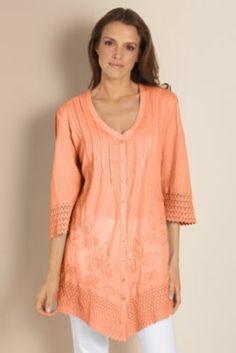 Grenada Gauze Shirt - Lace Cuffs And Hem, Tops, Clothing | Soft Surroundings
