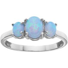 Sterling Silver Simulated Blue Opal 3-Stone Ring ($20) ❤ liked on Polyvore featuring jewelry, rings, blue, blue ring, oval three stone ring, oval ring, 3 stone rings and sterling silver jewelry