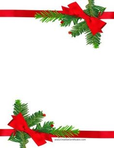 Border With Red Ribbons For Xmas