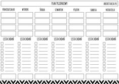 planer tygodniowy Office Organisation, Organization, School Planner, Quotations, Back To School, My Photos, Bullet Journal, Printables, Writing