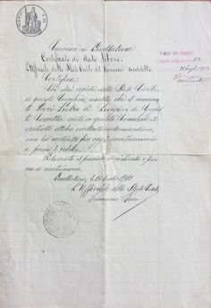 Certificato di stato libero is an Italian document dated July 26, 1913 that confirmed my grandfather, Pietro Perri was an unmarried man. Family memorabilia. www.marianneperry.ca