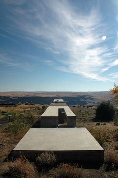 Allied Works Architecture - Maryhill overlook, Washington. A continuous concrete ribbon emerging from the earth and leading towards the Columbia River Gorge