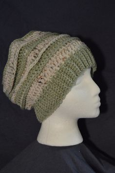 Green and speckled white stripe ribbed slouchy by HattieReegans
