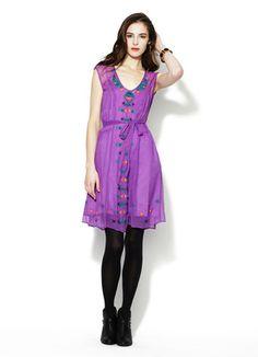 Nanette Lepore Distant Thunder Embroidered Silk Dress