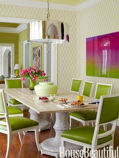 Pretty green dinig room - Green Room Decorating Ideas - Green Decor Ideas - House Beautiful
