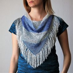Blue White Hand Knitted Triangle Scarf / Tassels by RUKAMIshop