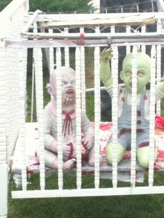 scary yard decor. Lol.@Ann Flanigan Adkins Morgan  here is what you can do with the zombie baby