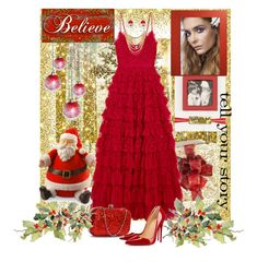 """Red & Gold"" by sherrysrosecottage-1 ❤ liked on Polyvore featuring Oliver Gal Artist Co., Needle & Thread, Christian Louboutin, Charlotte Russe, Mud Pie, Tim Holtz, National Tree Company, M&Co, Christmas and red"