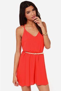 In Short Order Red Orange Romper at LuLus.com!