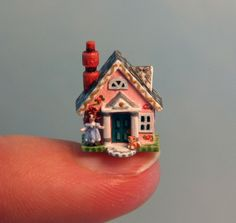 "OOAK Miniature Dollhouse House Storybook Cottage Tiny Handcrafted 1 4"" Scale 