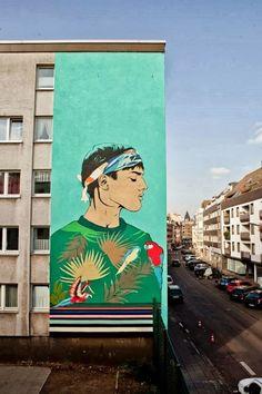 Street art in Cologne, Germany (Follerstrasse 75), by Aya Tarek from Egypt, urban art, graffiti art, street artists, urban artists, wall murals.