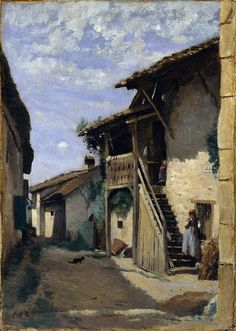 Camille Corot - A Village Street, Dardagny [c.1852] | Flickr - Photo Sharing!