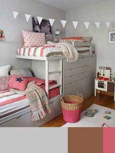 Combinar colores en dormitorios infantiles con la regla del 60-30-10. Decoración con la regla del 60 30 10.