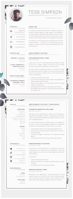 CV Design | Resume Design | CV | Resume | Matching Cover Letter & Job Search Advice - Download.