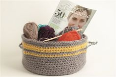 I like to experiment with the scale and weight of yarns by using them in different ways. This basket was made with a TRIPLE strand of Sheep(ish) yarn.    Tasket (crocheted basket)    Sheep(ish) project from my column in Interweave Crochet, Winter 2012 for @Bernat Yarns