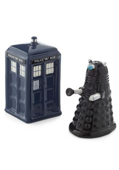 Exterminate the lack of sodium in your diet with this TARDI and Dalek Doctor Who salt & pepper shaker set!