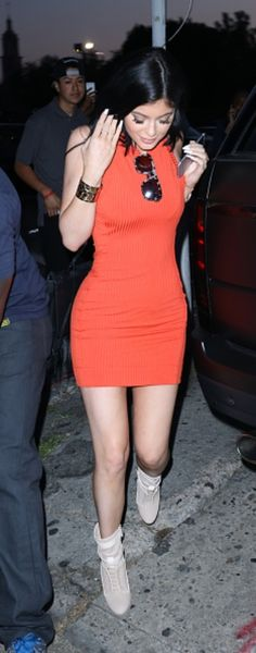 Kylie Jenner killing it in the Nasty Gal Brickell Ribbed Dress
