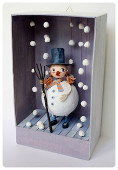 Love the falling snow...adorable project to make with your children!!!..or their children....:)