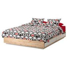 MANDAL σκελετός κρεβατιού με αποθηκευτικό χώρο, σημύδα/λευκό, Κρεβάτια με αποθηκευτικό χώρο