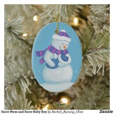 Snow Mom and Snow Baby Boy Ceramic Ornament Baby First Christmas Ornament, Baby Ornaments, Babies First Christmas, Christmas Cards, Unique Photo, Personalized Baby, Picture Frames, Baby Boy, Snow