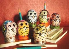 Cute DIY eggshell owls