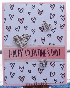 https://flic.kr/p/DBFaYu | Happy Valentine's Day | Card made using February 2015 and 2016 Simon Says Stamp Card Kits.  Patterned papers by Crate Paper.  Sentiment stamp by Simon Says Stamp.  Heart punches by EK Success and Martha Stewart.