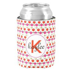 Girly Pink & Red Tulip Floral with Custom Monogram Can Cooler!