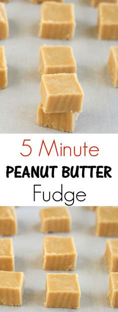 5 Minute Microwave Peanut Butter Fudge. So easy to make and great for making ahead of time for gifting!