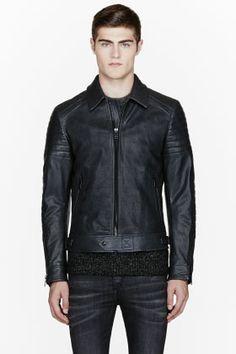 Belstaff Black Pebbled Leather Atherley Jacket for men | SSENSE