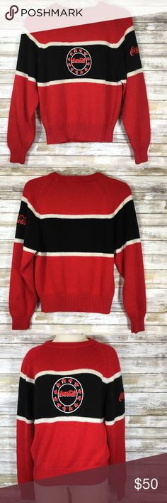 """Vintage 80's Striped Coca-Cola Knit Sweater Very hard to find vintage 1980's Coca-Cola knit sweater.   Sweater has Coca-Cola spelled out in bubble letters on both the front and on one sleeve. Features horizontal red, black and white stripes.   Size and material tag has worn/faded.   The bubble letters do show some wear with some cracking. Sweater also has some piling. But otherwise in good condition.   Measurements (flat): Armpit to armpit: 20"""" Waist: 19.75"""" Bottom hem: 13.25"""" Length: 21.25""""…"""