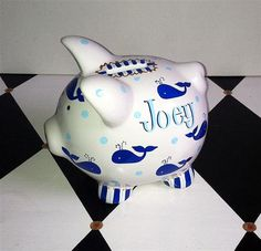 Personalized Piggy Bank Whales Design in Blue Size by PreppyPiggy Personalized Piggy Bank, Piggy Banks, Nautical Nursery, Whales, Pots, Handmade Gifts, Baby, Crafts, Design