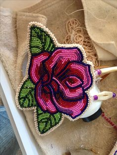 Beadwork - pink and purple rose... my favorite color