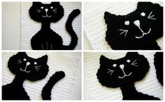 Crocheted Kitty Pillow with a link to the pattern.