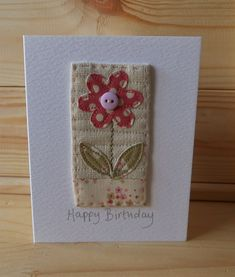Hand Sewn Card by Lindsey Brandish on Etsy Fabric Cards, Fabric Postcards, Paper Cards, Diy Cards, Hand Made Greeting Cards, Making Greeting Cards, Greeting Cards Handmade, Embroidery Cards, Free Motion Embroidery