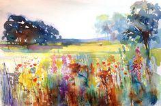 Original Watercolour Landscape Painting- Summer Meadow- by Annabel Burton