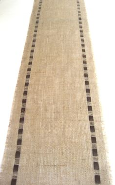 Coffee Bean Burlap Table Runner with Brown Satin Ribbon - Rustic Chic Home Decor. $24.00, via Etsy.