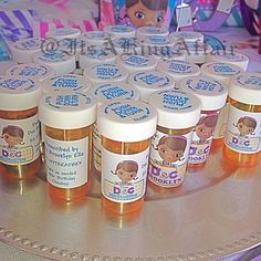 Prescription bottles at a Doc McStuffins party - too cute!