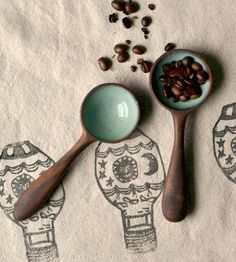 Mint Coffee Scoop   made with hand turned wood