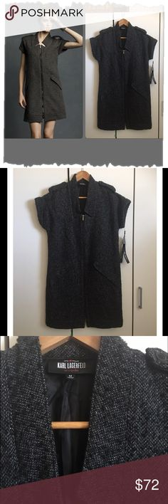 """Karl Lagerfeld for Impulse Grey Tweed edgy Dress NWT! Edgy, contemporary, designer, incredible!   Excellent condition. Lined polyester/Wool/Acrylic blend. Lining is 100% polyester. Two front faux pockets. Zips up all the way up the front. This piece can be worn as a dress or as a jacket over leggings and a tee. Iconic, timeless, chic. The Karl Lagerfeld name has been synonymous with cutting edge fashion for over 30 years. Bust 38"""", waist 38"""", hips 42"""", length 36"""". Dresses Midi"""