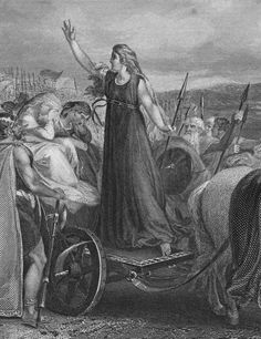 Boudicca - British Celtic warrior queen who led a revolt against Roman occupation {? - 61 CE} Boudicca was the wife of Prasutagus, who was head of the Iceni tribe in East England, in what is now Norfolk and Suffolk. European History, Women In History, British History, Ancient History, Asian History, Tudor History, Iceni Tribe, Vikings, Warrior Queen