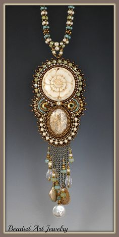 Carved Rose Necklace 001 by Beaded Art Jewelry, via Flickr