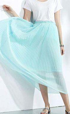 Blue Elastic Waist Pleated Midi Skirt